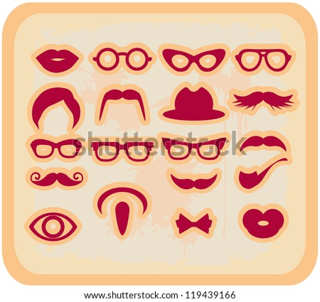 Vector grunge Mustaches and other Accessories Vector Set silhouettes red design elements