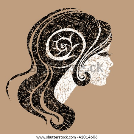 """Vector grunge portrait of woman with long hair (From my big """"Vintage woman collection """") - stock vector"""