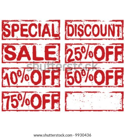 Vector grunge sale discount stamp labels - stock vector