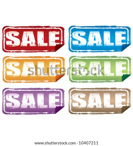 Vector grunge sale label signs