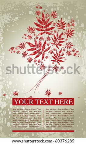 Vector grunge sample of design with decorative tree from colorful autumn leafs and place for text. Thanksgiving