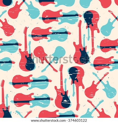 Vector grunge seamless pattern with guitar - stock vector