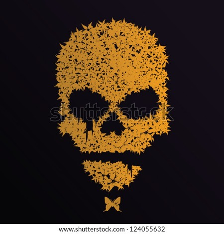 Vector grunge skull - stock vector