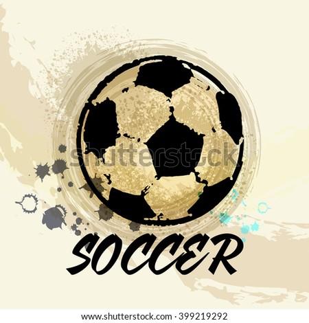 Vector Grunge Soccer design ( T-shirt, Poster, Banner, backdrops design ) - stock vector