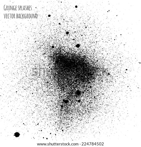 vector grunge splashes black ink background - stock vector