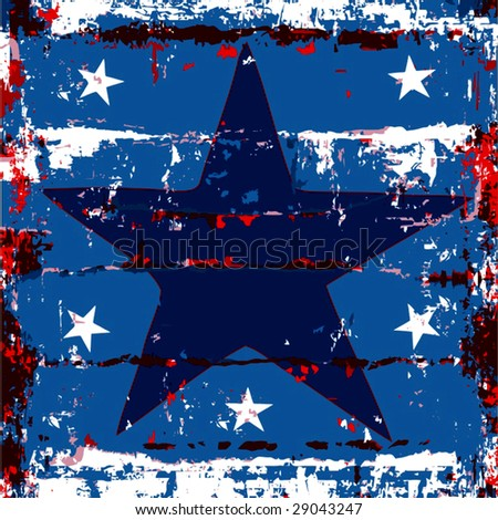 Vector Grunge Star Poster - stock vector