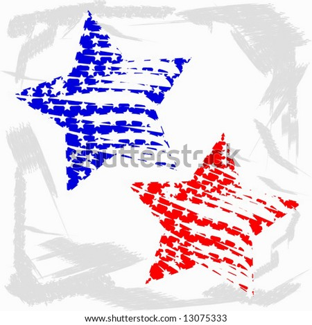 Vector Grunge Stars Of Blue And Red - stock vector