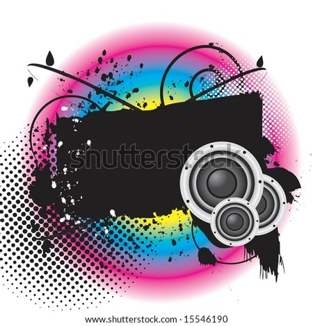 Vector grunge style banner with floral elements and stereo / audio music speakers