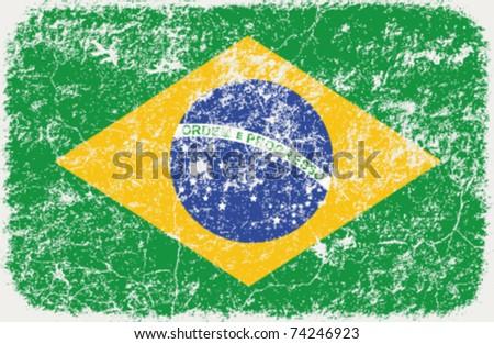 vector grunge styled flag of brasil - stock vector