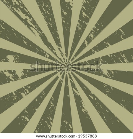 Vector grunge sunburst of military camouflage tones - stock vector