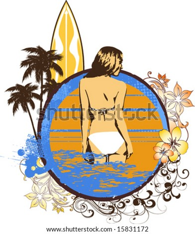 Vector grunge surf graphic with a girl in a bikini in the ocean - stock vector