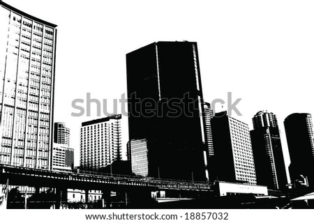 Vector Grunge Sydney Skyline - stock vector