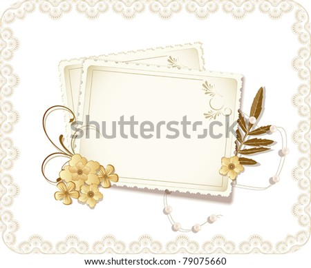 vector grunge, vintage background with a greeting card, pearls, flowers - stock vector