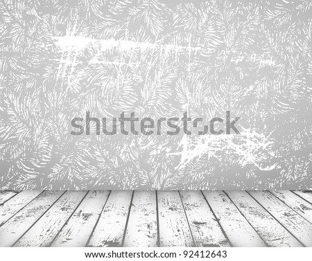 Vector grunge vintage interior with shabby wall and wooden floor