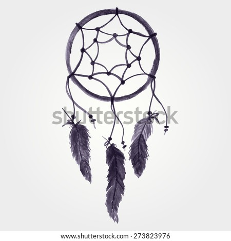 Vector grunge watercolor illustration of dream catcher