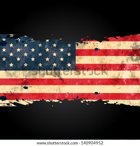 vector grungy american flag design - stock vector