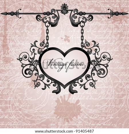 Vector grungy background with wrought heart signboard - stock vector