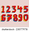 VECTOR Grungy colorful, hand drawn numbers. - stock vector