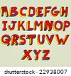 VECTOR Grungy colourful, hand drawn alphabet / font / letters. - stock photo