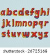 VECTOR Grungy colourful, hand drawn lowercase alphabet / font / letters. - stock photo