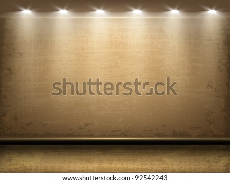 Vector grungy room illuminated by lamps. Part of room set. Vector art. - stock vector
