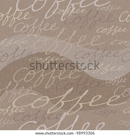 Vector grungy seamless pattern with coffee inscriptions - stock vector