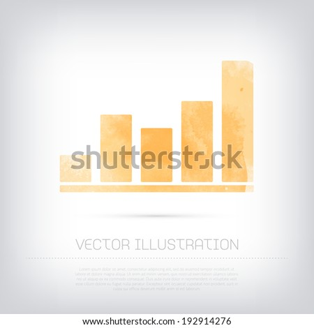 Vector grungy textured yellow watercolor infographic chart icon