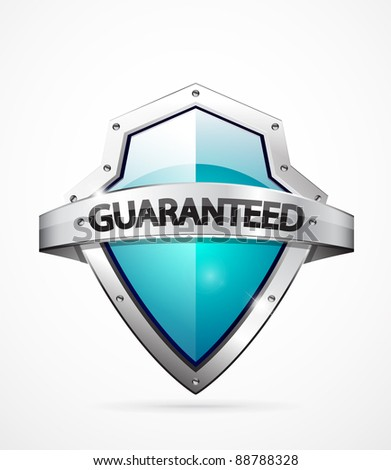 Vector guaranteed shield icon. Blue color - stock vector