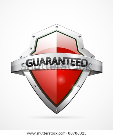 Vector guaranteed shield icon. Red color - stock vector