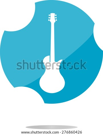 vector Guitar icon button isolated