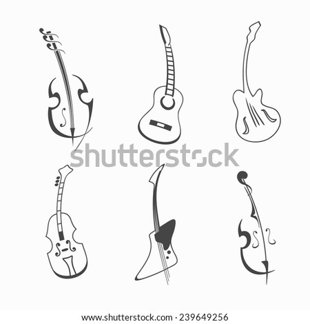 vector guitar set - stock vector