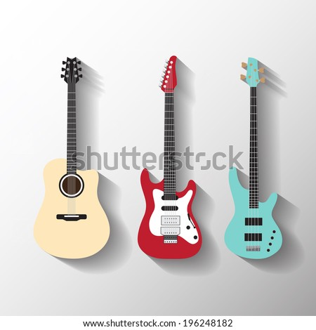 Vector guitars set - stock vector