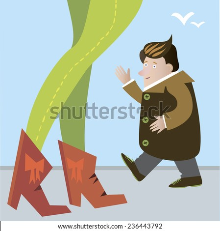 Vector. Guy says hello to sexy woman. Sexual harassment.  - stock vector