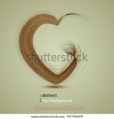 Vector hair in the shape of a heart - stock vector