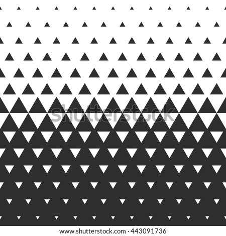 Vector halftone abstract transition triangular pattern wallpaper. Seamless black and white triangle geometric background. - stock vector