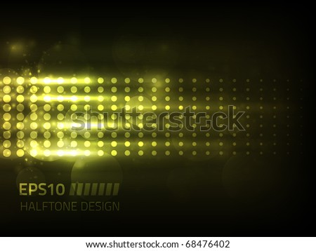 Vector halftone design against dark background - stock vector