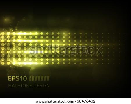 Vector halftone design against dark background - stock vector