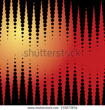 Vector halftone dots. Black dots on yellow and red background. - stock vector
