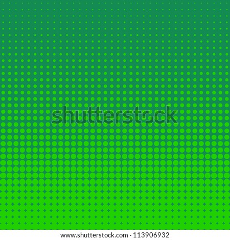 Vector halftone dots. Green dots on green background. - stock vector