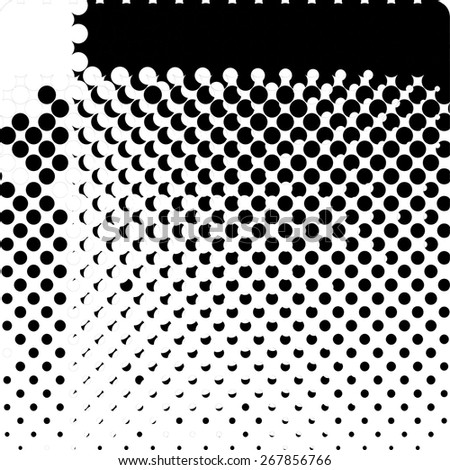Vector halftone dots, illustration. Black and white. Hatbox