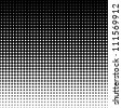 Vector halftone dots. White dots on black background. - stock