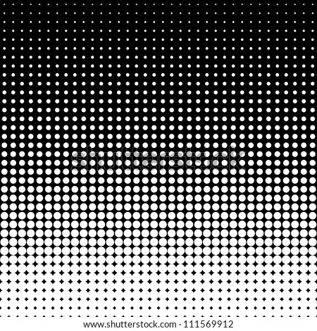 Vector halftone dots. White dots on black background. - stock vector