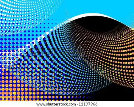 vector halftone effect, illusion of the gradient - stock vector