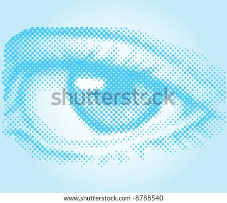 Vector halftone eye illustration - stock vector