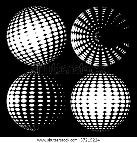 Vector halftone spheres - stock vector