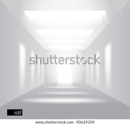 Vector hall with lights - stock vector