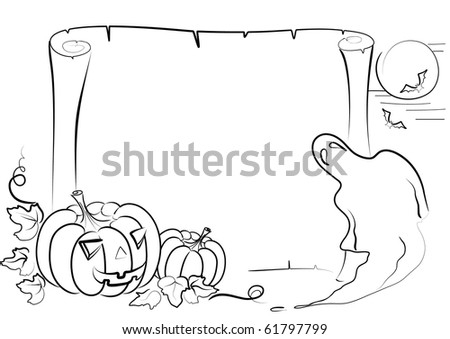 Vector Halloween background on white.Graphic image - stock vector