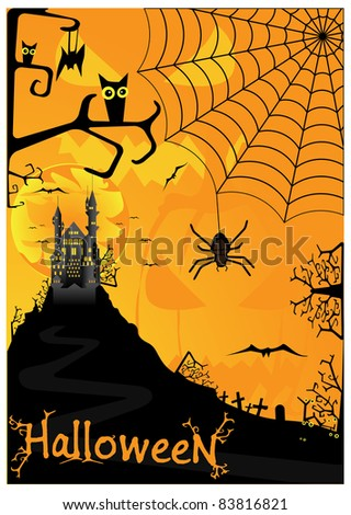 Vector Halloween background with bats spiders and owls - stock vector