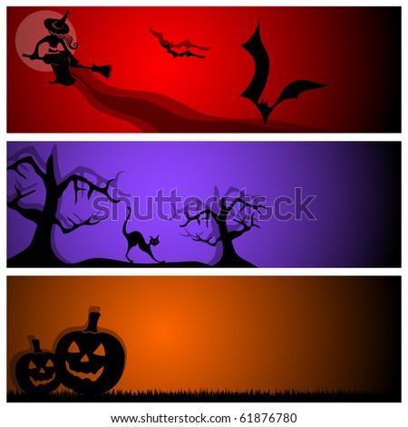 vector halloween banners - stock vector