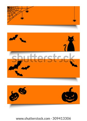 Vector Halloween black and orange web banners with jack-o-lanterns, bats, cat, net and spiders. - stock vector